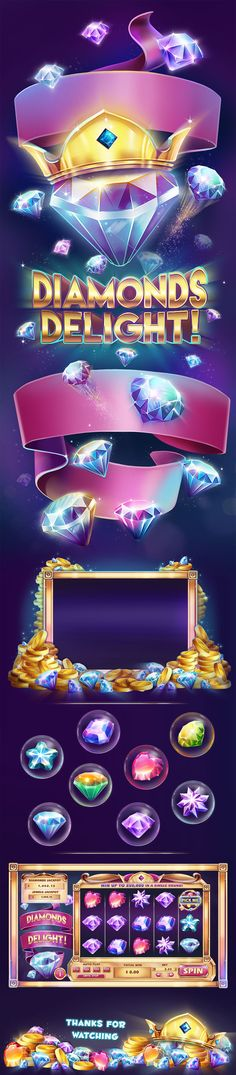 Diamonds Delight - videoslots game on Behance Best Casino Games, Gambling Games, Game Gui, Game Icon, Casino Party Decorations, Casino Theme Parties, Travel Outfit Summer Airport, Gaming Banner, Game Ui Design