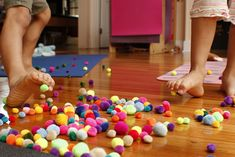Pompoms might just be the perfect kids' Yoga prop. They are inexpensive, colorful, lightweight, and have innumerable creative uses. Yoga, crafts, and play!
