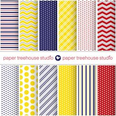 Digital Papers  Navy Red & Yellow Nautical by papertreehousestudio, $4.25