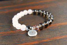 • Opposites Attract! Rose Quartz Bracelet - Lotus Flower Bracelet - Smoky Quartz Bracelet - Gift for Bridesmaids - Yoga Bracelet - Womens Bracelet - Lotus and Lava Bracelet •