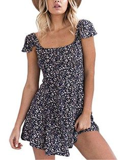 👗 Backless navy floral print short dress Women back strap high waist summer dress Vintage red boho beach dress vestidos 👗 Short Beach Dresses, Vintage Summer Dresses, Summer Dresses For Women, Trendy Dresses, Short Sleeve Dresses, Dress Vintage, Dress Summer, Vintage Floral, Short Sundress
