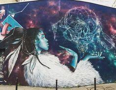 Mystic Shaman by #alex3hc #3hc #Streetart #urbanart #graffiti #graff #graffitiwall #wall #wallporn #streetphoto #streetartandgraffiti #urbanwalls #graffart #spray #bombing #instagraff Rue des Couronnes #paris