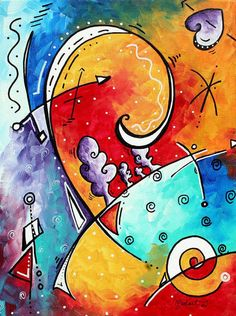 Colorful Abstract Painting - Tickle My Fancy Original Whimsical Painting by Megan Duncanson Art Deco Paintings, Painting Prints, Fine Art Prints, Original Paintings, Painting Tips, Pinturas Art Deco, Fine Art Amerika, Canvas Art, Canvas Prints