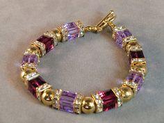 Lavender and pink swarovski crystal cube glam bracelet, boho chic fuchsia… Beaded Bracelets Tutorial, Handmade Bracelets, Bracelets For Men, Handmade Jewelry, Diy Schmuck, Schmuck Design, Gemstone Bracelets, Jewelry Bracelets, Crystal Jewelry