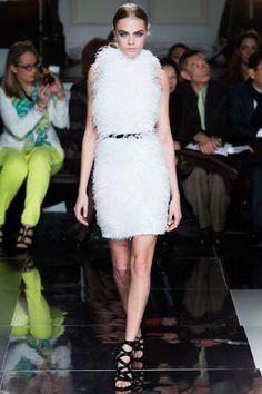 Cara Delevigne in fluffy (but flirty!) Jason Wu  love this fur dress♥ OMG :D so nice