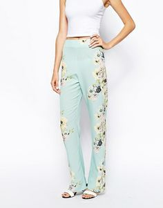 Ingrandisci ASOS - Pantaloni a fondo ampio trasparenti con stampa floreale ai lati