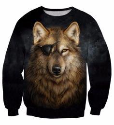 Cool Gray Pirate Wolf Yellow Eyes Wild Animal Stunning Sweatshirt #Cool #Pirate #Wolf #YellowEyes #Wild #Animal #Stunning #Sweatshirt