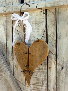 Rustic Reclaimed Wood Heart decor w/ barbed by SoPurdyCreations, $16.00
