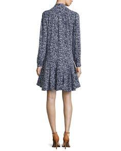 Floral-Print Front-Tie Dress, Optic White/Indigo