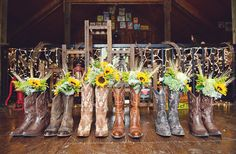 Bridesmaids Floral Bouquets of Sunflowers and Wheat
