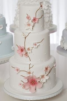 Simple and elegant cherry blossom cake from Wedding Day blog