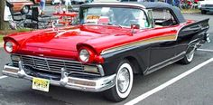 1957 Ford - The 1957 model year Fords were completely restyled. The 115 inch wheelbased Custom and Custom 300 sedans replaced the Mainline/Customline. The Fairlane and the new top-of-the line Fairlane 500 featured a 118 wheelbase. Both Fairlanes were available in two and four-door Victorias. The 223 cid six was standard engine with 190 hp 272 up to a 312 cid 245 hp V8s as options.