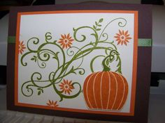 Pumpkin Card by maggienstamps - Cards and Paper Crafts at Splitcoaststampers Halloween Cards, Fall Halloween, Halloween Makeup, Fall Cards, Holiday Cards, Pumpkin Cards, Thanksgiving Cards, Card Tags, Scrapbook Cards