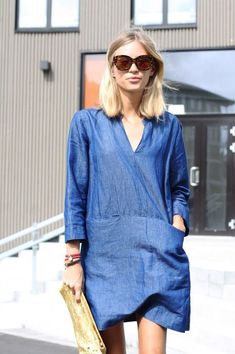 little chambray dress Everyday Outfits Simple, Stylish Summer Outfits, Fashion Mode, Denim Fashion, High Mode, Estilo Jeans, Casual Chique, Vestido Casual, Dress Casual