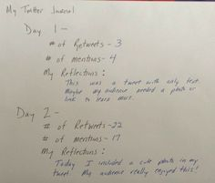 Lesson 3- Sample Twitter Journal Entries