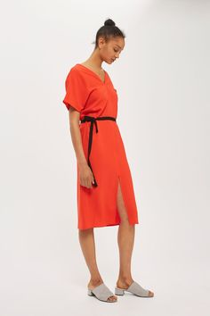 Kimono Sleeve Belted Midi Dress - Dresses - Clothing - Topshop