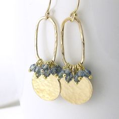 Sapphire Earrings, September Birthstone, Denim Blue Crystal Jewelry, Unique Handmade Jewelry  - Beth No. 8 on Etsy, $54.00