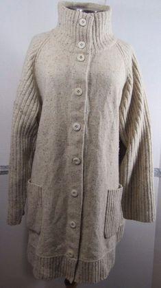 Eileen Fisher Sweater Coat 3X Oatmeal Brown White Tweed Lambswool Angora Silk Bl #EileenFisher #Sweatercoat #Work