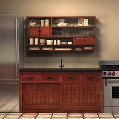 Greentea Design 4 Drawer Base Cabinet in fruitwood stain with iron hirute handles Zen Kitchen, Asian Kitchen, Japanese Kitchen, Smart Kitchen, Kitchen Ideas, Buy Kitchen Cabinets, Simple Kitchen Design, Hanging Cabinet, Kitchen Remodel