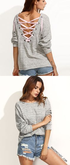 Grey Lace-up Back Long Sleeve Sweatshirt