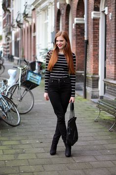 Outfit   When in a Hurry   Striped breton top, earrings and black suede ankle boots from H&M, thin patent belt from Primark and Guardian Angel Shoulderbag from @Vlieger & Vandam   Fashion blogger from Amsterdam, red hair, red lips   More on www.redsonjafashion.com