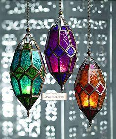Moroccan Style Large Hanging Glass Lantern > Moroccan Style Lanterns in Coloured Glass > Home & Gifts > Namaste Fair Trade > Namaste-UK Ltd Moroccan Lamp, Moroccan Lanterns, Moroccan Style, Moroccan Fabric, Moroccan Garden, Turkish Lamps, Moroccan Blue, Lantern Tea Light Holders, Tealight Candle Holders