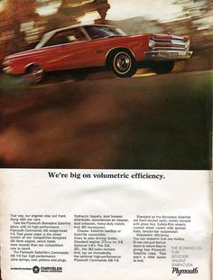 1965 Plymouth Belvedere Satellite Advertisement Road & Track July 1965 | Flickr - Photo Sharing!