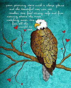 The Eagle / the protector freedom original illustration ART Print SIGNED / 8 x 10 / NEW. $20.00, via Etsy.