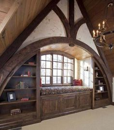 Maybe for the library mezzanine or library annex, but the architecture gives itself to the attic of a Tudor house. Tudor House, Tudor Cottage, Cottage Style, Attic Rooms, Attic Spaces, Attic Bathroom, Attic Playroom, Attic Apartment, Bathroom Small