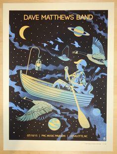 "Dave Matthews Band - silkscreen concert poster (click image for more detail) Artist: Methane Studios Venue: PNC Music Pavilion Location: Charotte, NC Concert Date: 7/10/2015 Size: 18"" x 24"" Edition: 7"