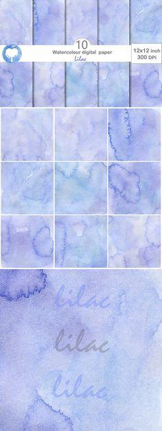 Watercolor Digital Paper - Lilac. Textures. $2.00