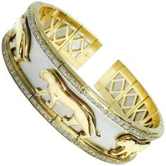 Two-Tone Gold and Diamond Panther Flexible Cuff Bangle Bracelet