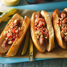 Grilled Brats with Bock-Mustard Relish Bock beer, a strong and hoppy lager, is infused into this brat's mustard-based relish. Stir in honey for a soft hint of sweetness.