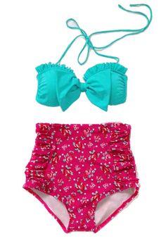 Mint Bow Top and Pink Flora High Waisted Waist Shorts Bottom Swimsuit Swimwear Bikini Bathing suit Woman Womens Lady Adult Female Girl S M