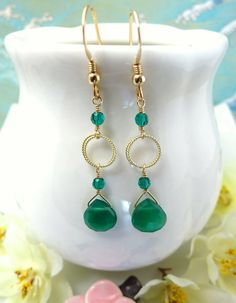 Gold filled green onyx hoop dangle earrings by KBlossoms on Etsy, $40.00