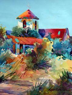 Los Ojos Mission 18×14 Watercolor Paper by Dyan Newton