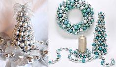 Jeweled and beaded Christmas trees  #Christmas #tree #decorations #ideas #holiday #DIY #craft #homemade #handmade #precious #silver #blue #ornaments #shiny