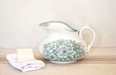 Vintage French Faience Water Pitcher by BeyondTheBrocante on Etsy