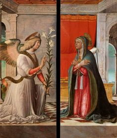 Page of The Archangel Gabriel and the Virgin Annunciate by JACOPO DA MONTAGNANA in the Web Gallery of Art, a searchable image collection and database of European painting, sculpture and architecture Italian Renaissance, Renaissance Art, Medieval Art, Catholic Art, Religious Art, Photography Illustration, Art Photography, Madonna, Feast Of The Annunciation