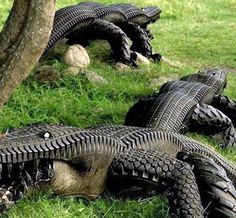how to reuse and recycle car tires for yard decorations and art