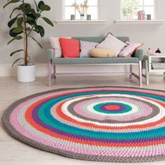 Ravelry: Centre Stage Rug pattern by Rico Design Cheap Carpet, Diy Carpet, Modern Carpet, Rugs On Carpet, Crochet Home Decor, Diy Crochet, Crochet Carpet, Rico Design, Small Rugs