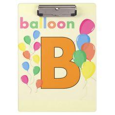 Balloon Letter B Clipboard  #Alphabet #Kids #Teacher #Clipboard