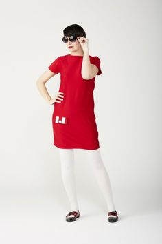 Online Boutique — Love Her Madly Red And White Dress, White Tights, Sexy Socks, Mod Fashion, Pin Up Girls, Lady In Red, Hosiery, Winter Fashion, Women Wear