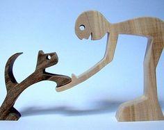 """Skulptur Holz überbacken, """"ein Mann und seine Katze"""""""