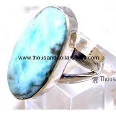 Annabel 925 Sterling Silver hi fashion Thousand dollar style Larimar Ring for women