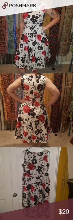 A line sleeveless dress Beautiful A line sleevless knee length causal dress! Perfect for rockabilly! Comfy with some stretch to it my waist is 33inch and this beauty is a size Large. Tie back could fit an XL. Brand new with tags. Open to offers. mixinni Dresses Midi