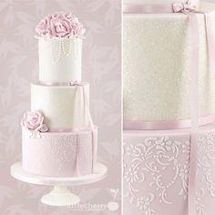 Something in pink and ivory! Stencil in my online shop. #cherrycakeco #cake #weddingcake #glitter #pinkandivory #roseweddingcake