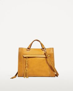 Image 2 of YELLOW LEATHER CITY BAG WITH PLAITED HANDLE from Zara