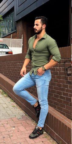 Uñas Azules, Chaqueta Con Pantalones Vaqueros, Camisas De Vestir, Hombres  Sexy 12a7f13018