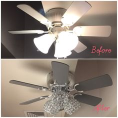 Before and after outdated ceiling fan painted an updated with diy ceiling fan update chrome gray spray paint new crystal lampshades glamdecor aloadofball Gallery
